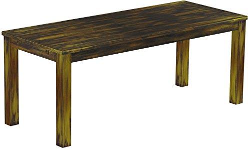 Brasilmöbel Esstisch Rio Classico 200x80 cm Goldmix Massivholz Pinie Holz Esszimmertisch Echtholz Größe und Farbe wählbar ausziehbar vorgerichtet für Ansteckplatten
