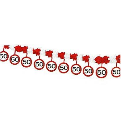 50.Geburtstag Deko Papiergirlande mit Zahl 50 Girlande mit 12 Verkehrsschilder und 4m lang Dekoration zum 50er Geburtstag Party oder andere Anlässe