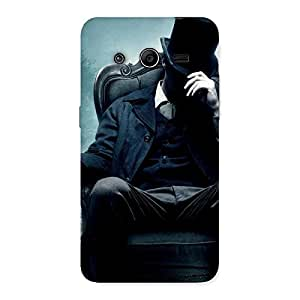Enticing Sitting Hat Man Back Case Cover for Galaxy Core 2