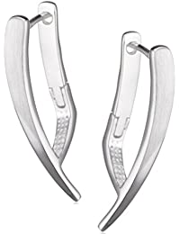 Vinani Damen-Klapp-Creolen Cubique Sterling Silber 925 Ohrringe CQU