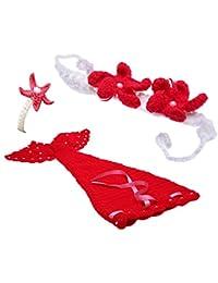 TOOGOO(R)Bebe ninos pequena abeja ganchillo punto vestido encantadores dulce Ropa foto fotograficos accesorios por 0-6 meses de recien nacido Rojo