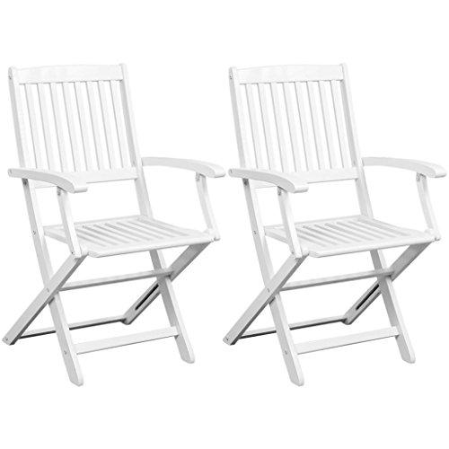 vidaXL 2X Chaise Pliante en Bois d'Acacia Blanc Chaises de Jardin Terrasse