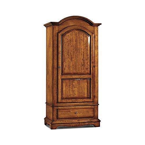 Inhouse srls armadio cappello tondo, arte povera, in legno massello e mdf con rifinitura in noce lucido - mis. 96 x 56 x 196