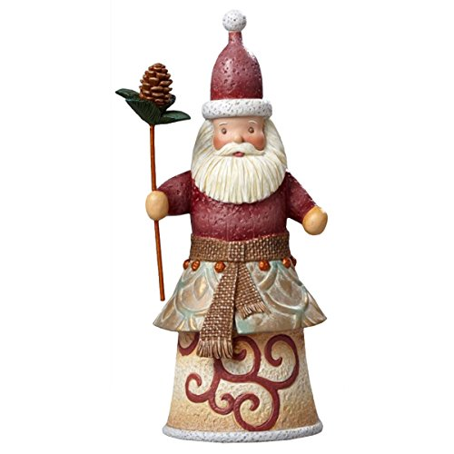 Enesco Rivers End By Jim Shore Babbo Natale con Una Pigna, Pvc, Multicolore, 19x25x17.5 cm - Enesco Natale
