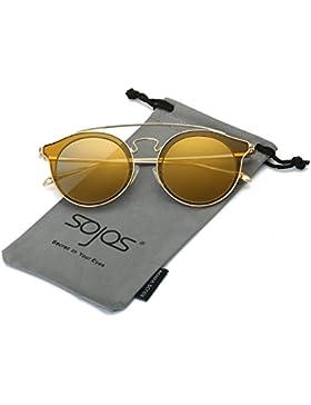 SojoS Gafas De Sol Redondo clásico Hombres Metal doble Puente SJ2024