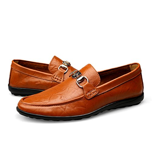 Minitoo Boys Mens Snap Slip-On Spring/Summer/Fall Casual Shoes Dark Brown