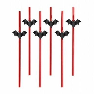 Strohhalme Fledermäuse rot/schwarz, 24 cm, 6 Stück, - Halloween Dekoration