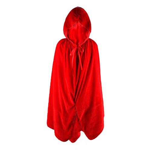 Umhang für Kinder aus Samt, mit Kapuze, für Halloween, Cosplay,  80cm rot