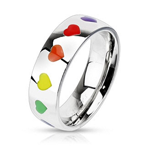 Bungsa 54 (17.2) Regenbogen Herz Ring Damen - Silberner EDELSTAHLRING für Frauen mit Bunten Herzen - DAMENRING mit grünem, Gelbem, orangem, Rotem & violettem Herz - Rainbow LGBT Gay Pride