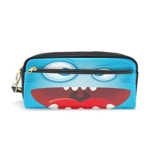 Bleistift Fall, Funny Monster Gesicht bedruckt Reise Make-up Pouch Large Wasserdicht Leder 2Fächer für Mädchen Jungen Damen Herren Blau
