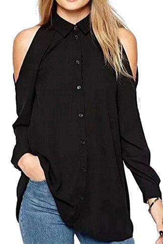 De-las-mujeres-vestido-nico-Breasted-manga-larga-blusa-camisa-Top-tallas-grandes
