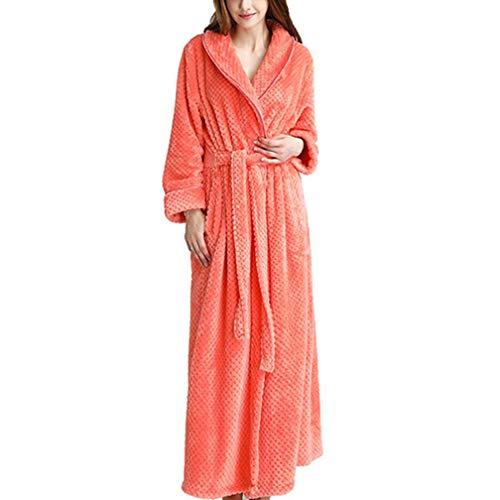 Ladies accappatoio bavero, autunno e inverno coppie robe, cardigan di flanella pigiama per uomo e donna, pigiama cintura set,orange,m