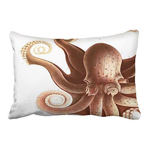 Jxrodekz Custom Vintage Giant Red Squid Octopus Nautical Theme Pillowcases 20x30 Inch with Hidden Zipper Home Sofa Cushion Decorative Pillowcase