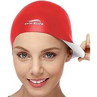 2en 1Swim Elite Silicona Gorro de Natación–Reversible–Desgaste Que en Ambos Lados–Tela–para Hombres y Mujeres–Mejor para Corto y Medio de Largo Pelo, Rojo/Blanco