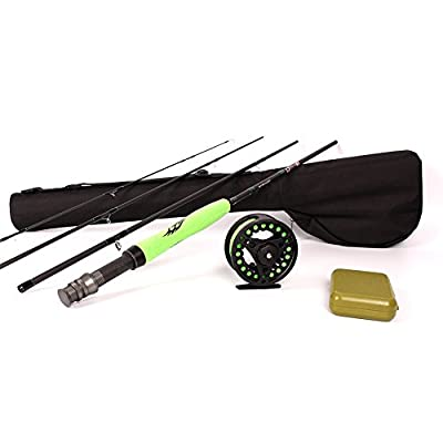 ICEWEI Travel Fly Fishing Rod and Reel Combos 4Piece Fishing Rod Blanks with 5-6wt Fly Fishing Line Weights Trout Salmon Fly Fishing Reels Pole Outfit in Lake Stream from ICEWEI
