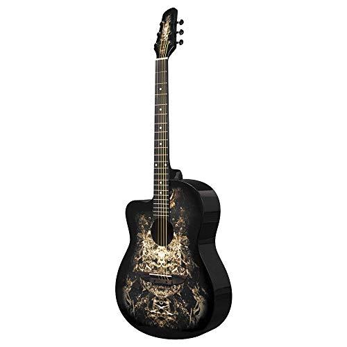 Lindo Linkshänder 933C 'Alien' schwarz Akustische Gitarre & Gigbag | Kostenlose Express Zustellung - Gitarre Schwarz Akustische Martin