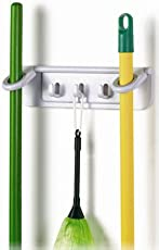 Okayji Plastic Mop and Broom Holder Rack, White