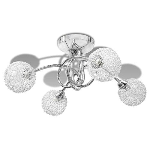 vidaXL Plafonnier avec abat-jour en fils métalliques 4 ampoules G9 Suspension Lustre