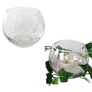 Annastore 12 x Teelichtglas Kugelvase rund klar Ø 9,5 cm Urban Jungle - Windlichter Glaswindlichthalter