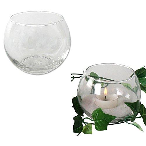 Annastore 12 x Teelichtglas Kugelvase Ø 7,5 cm Urban Jungle Teelichtgläser Windlichter