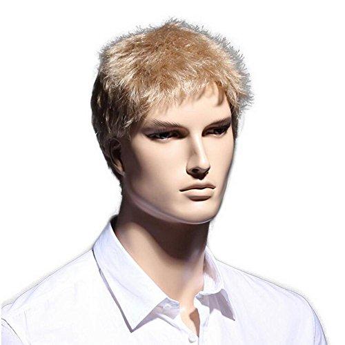 OOARGE Blonde Männer Perücken Hitzebeständige Natürliche Kurze Gerade Perücke für Männer Japanische KANEKALON Faser (Kurzer Bart Halloween Kostüm)
