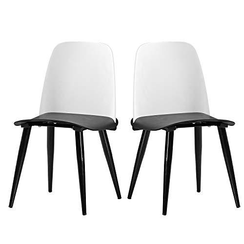 DlandHome Dining Chair Set von Zwei PU-Leder-Stab-Stuhl D1986-005 Schwarz-Weiss -