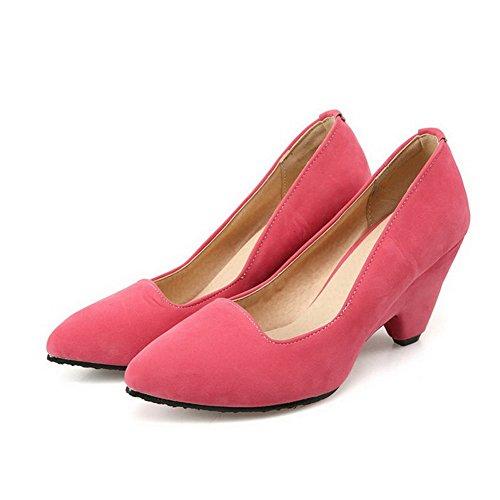 VogueZone009 Damen Blend-Materialien Rein Ziehen Auf Spitz Zehe Hoher Absatz Pumps Schuhe Pink