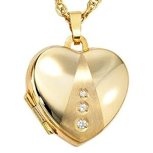 JOBO Medaillon Herz 333 Gold Gelbgold teilmattiert 3 Zirkonia