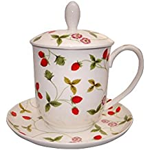 Sammler-Teegeschirr Teetasse mit Teesieb PRIMA VERA Kräuter 0,38L weiß grün Porzellan TeaLogic Küchen-Sammlerobjekte