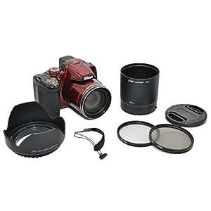 Kiwifotos 6-Piece Lens Kit for Nikon Coolpix P510, P520, P530 - includes Lens Adapter, Lens Hood, UV & CPL Filters, Lens Cap and Lens Cap Keeper