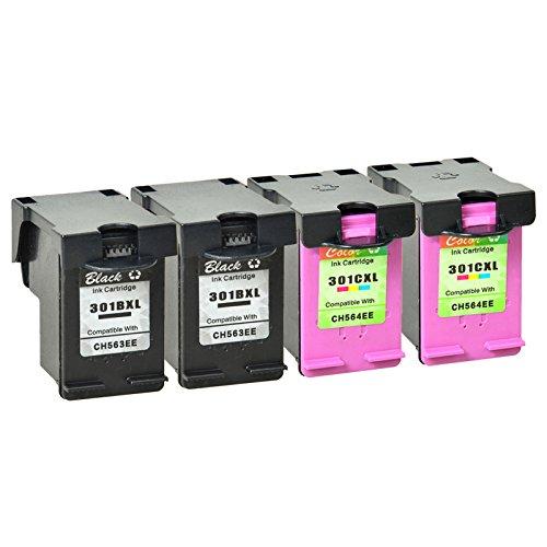 Nineleaf 4 pk 301XL Noir Tri-color 301 XL compatible encre pour impression laser reconditionn¨¦e haute capacit¨¦ Capacit¨¦ CH563EE CH564EE pour HP D1000 1050 1051 1055 1056 2050 2000 Deskjet 2BK + 2C