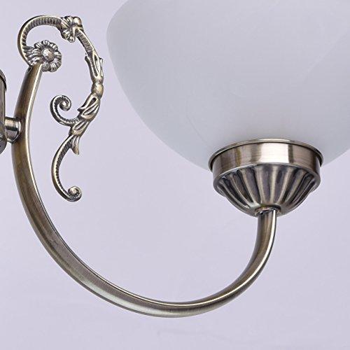 Kronleuchter klein 3 flammig antik messingfarbig matte weiße Glassichrme - 9