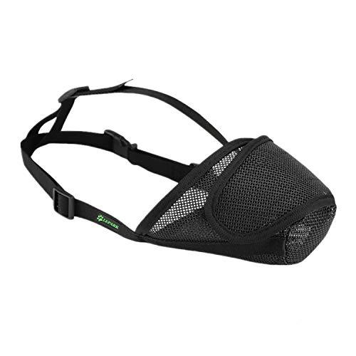 RockPet Nylonnetz Maulkorb mit Sicherheitsriemen für Kleine, Mittlere und Große Hunde, Verhindert Beißen, Bellen und Kauen (S,Schwarz)