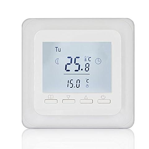 Beok Tol62a-ep électrique programmable Chauffage au sol Thermostat d'ambiance, programmation hebdomadaire Digital Smart LCD contrôleur de température avec sonde externe, AC 230V 16A, Blanc
