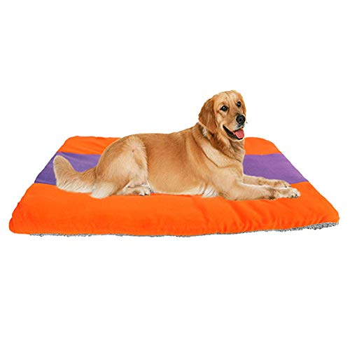 austierbett Waschbar Gepolstert Warm PlüSch Matratze Zum Hunde & Katzen, 6 GrößEn,orange+blue,#6 ()