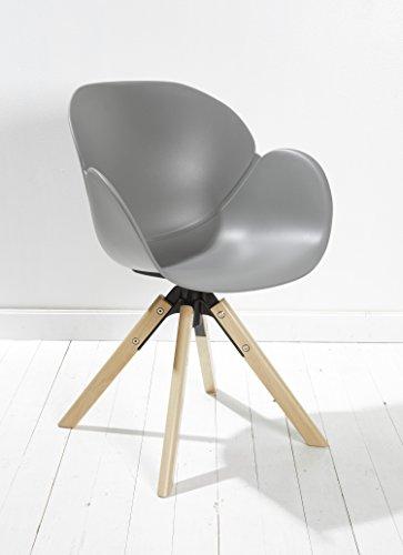 8er Set Designer Esszimmerstuhl Kunststoff grau drehbar mit Armlehnen und Rückenlehne Retrodesign mit Holzbeinen Esszimmerstühle Stühle Küchenstühle