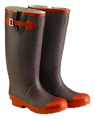 Tayberry Contrast Chocolate Brown Ladies Wellington Boots - Size 8 (UK) - Size 41 (Euro)