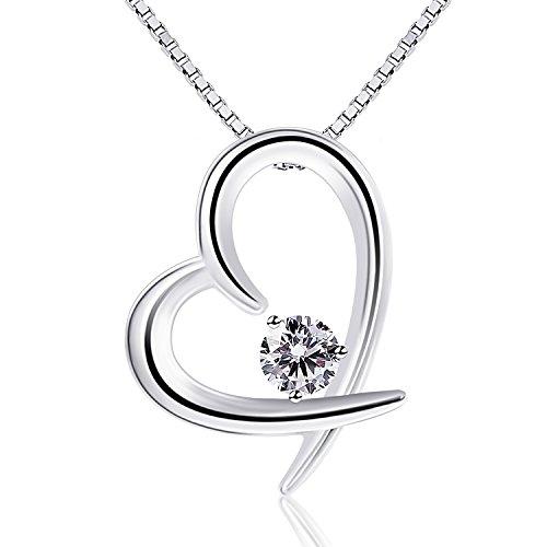 BCatcher-Valentinstag-Geschenk-Kette-Damen-925-Sterling-Silber-Zirkonia-mit-Lebhaft-Herz-Halskette-mit-EtuiItalien-Kette-45cm