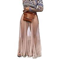 JKoYu Women Skirts Summer Beach Solid Color Perspective Mesh Elastic Waistband Maxi Skirt - Flesh XL
