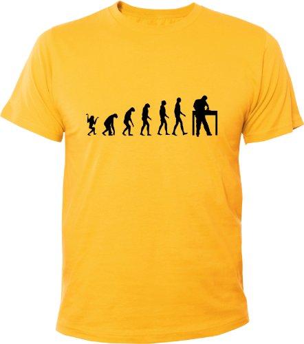 Mister Merchandise Cooles Herren T-Shirt Evolution DJ Turntables Disco, Größe: XXL, Farbe: Gelb (Dj Mister Cool)