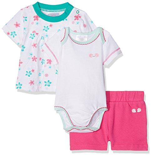 Twins Baby-Mädchen Bekleidungsset, 3-teilig, Mehrfarbig (weiß/pink 3200), 86