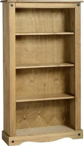 Corona Medium Bookcase in Distressed Waxed Pine