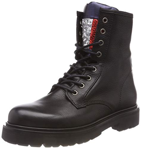 Hilfiger Denim Damen Big Flag Sparkle LACE UP Combat Boots Schwarz (Black 990) 38 EU