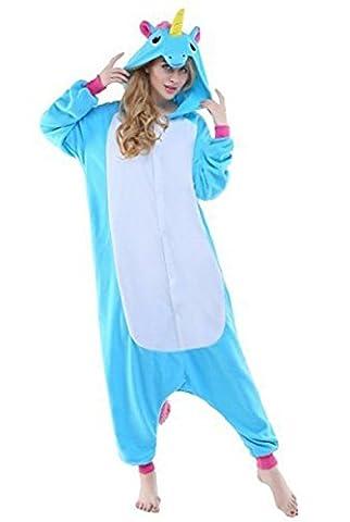 Minetom Kinder Pyjama Strampler Schlafanzug Tier Kostüm für Halloween Karneval Fasching, Schweinchen Kostüm, Gr. 92/98 Einhorn Blau (Cool 2 Person Kostüme)