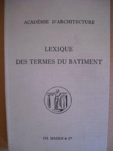 Lexique des termes du bâtiment