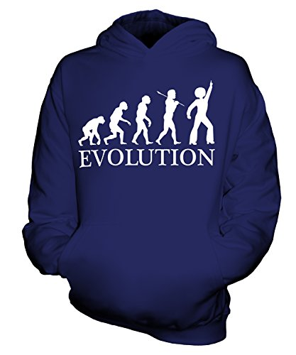 Tanzen Evolution des Menschen Unisex Kinder Jungen/Mädchen Kapuzenpullover, Größe 12-13 Jahre, Farbe Navy Blau (Disco Tanzen Kostüme Für Kinder)