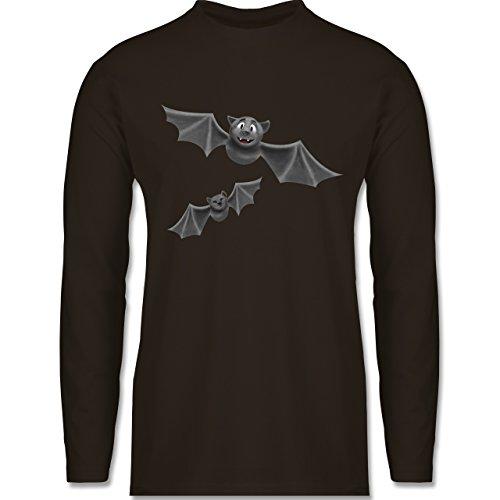 Halloween - süße Fledermäuse - Longsleeve / langärmeliges T-Shirt für Herren Braun