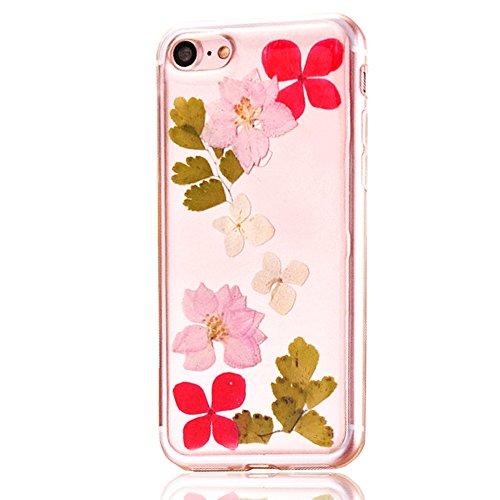 """iPhone 7 Schutzhülle, iPhone 7 Soft TPU Handytasche, CLTPY Modisch Durchsichtige Rückschale im Getrocknete Blumenart, [Stoßdämpfung] & [Kratzfeste] Full Body Case für 4.7"""" Apple iPhone 7 + 1 Stylus -  Floral 2"""