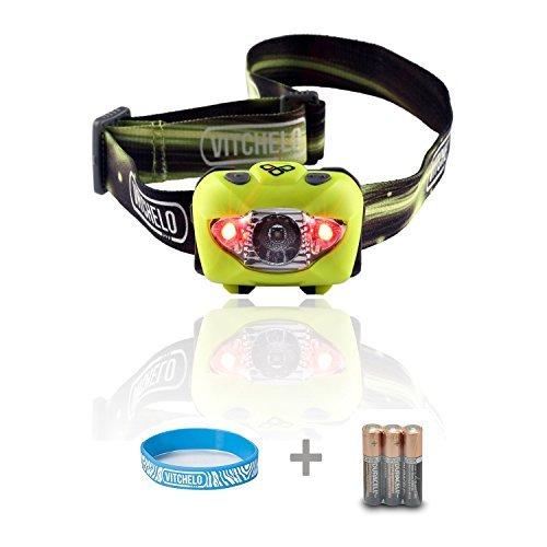 LED Stirnlampe zum Joggen, Camping, Angeln, Lesen - Beste und Hellste Kopflampe, wasserfeste Kopflampe, Lange Batterielaufzeit (Batterien mitinbegriffen), Anpassbarer Lichtkegel, haltbar, leicht, einfach bedienbar (Gelb)