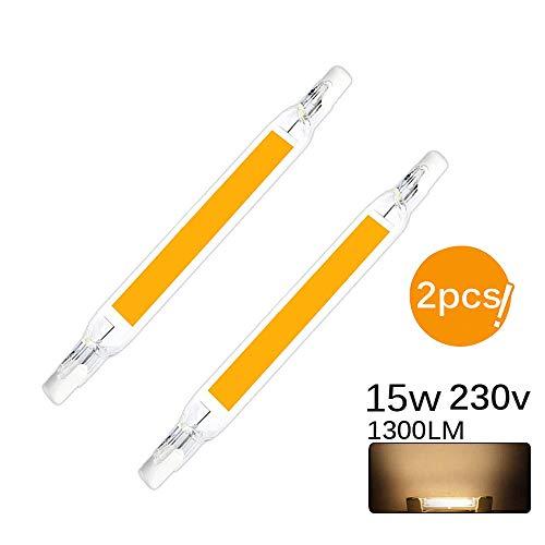 Vvciic Dimmable R7S Ampoules LED 78mm 118mm Ampoule LED COB Lampe 220-240V 110-140V 5W 10W Remplacer la Lampe halogène (15W/118mm, Warm White)